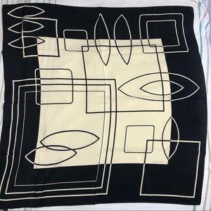 Large Echo silk square scarf cream & black